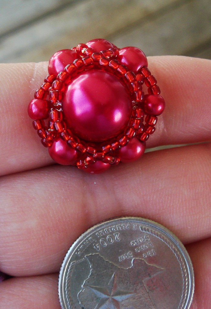 Red Cocktail Beaded Ring