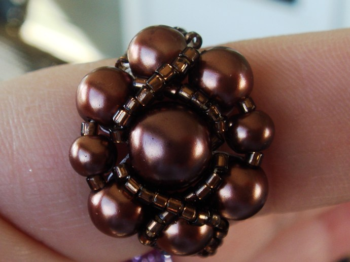 Brown Beaded Ring Sz 10 1/2