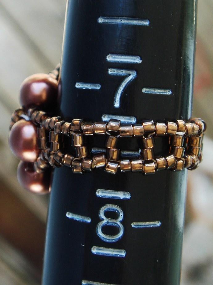 Brown Beaded Ring Sz 7 1/2