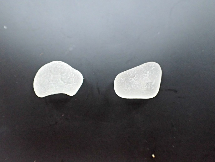 Frosted White Hawaiian Sea Glass set of 2 medium pieces