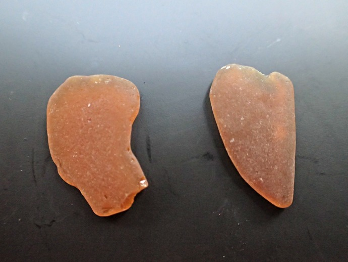 Frosted Amber Sea Glass Set of 2 Medium-Large Pieces from Hawaii