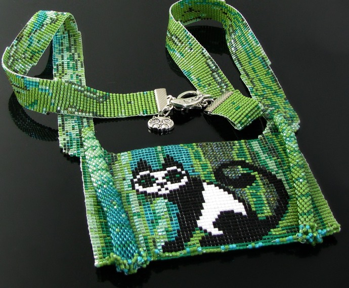 Split loom necklace bead loomed Pandacat bamboo jungle - A HeatherCat