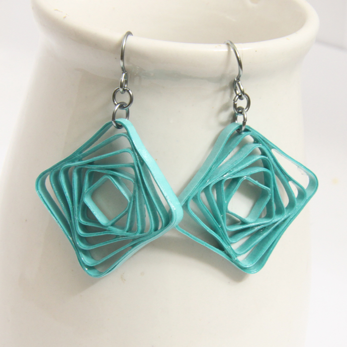 Square Spiral Swirl Geometric Aqua Niobium Earrings - Eco Friendly Artisan