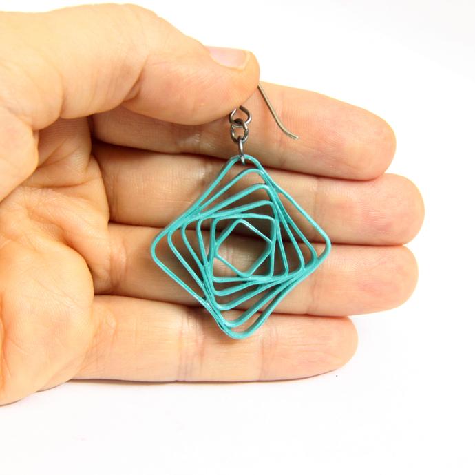 Square Spiral Swirl Geometric Pink Ombre Gradien Niobium Earrings - Eco Friendly