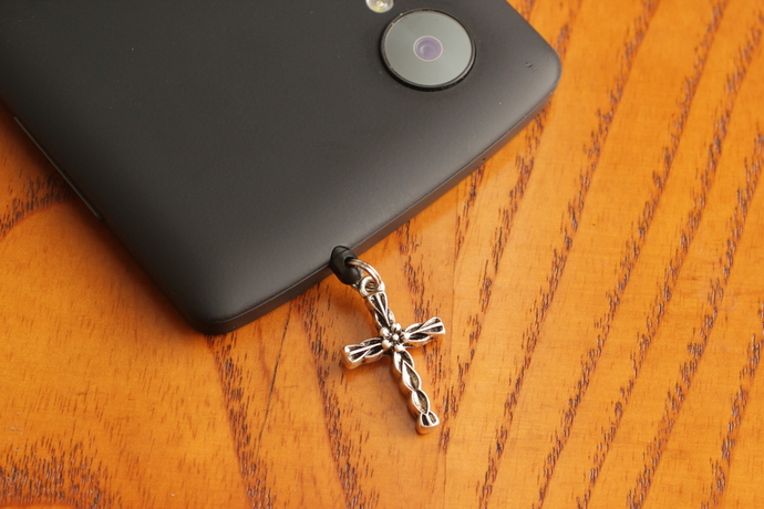 Cell phone charm with flower and leaves antiqued silver cross
