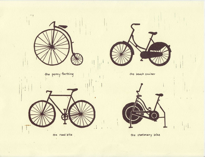 BIKE TYPES Art Illustration 8.5 x 11 Signed Archival Print
