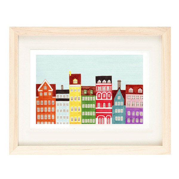 COPENHAGEN, DENMARK - 5 x 7 Colorful Illustration Art Print, Yellow, Green, Red,