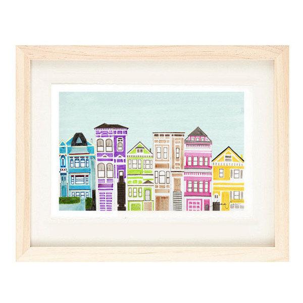 VICTORIAN HOUSES - 5 x 7 Colorful Illustration Art Print, Bright, Pink, Purple,