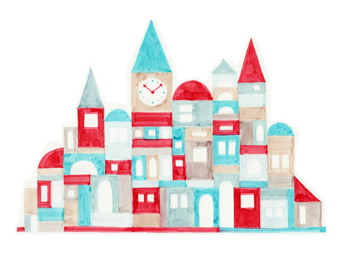 Nursery Art Colorful Red and Blue Geometric Buildings Oversized Illustration