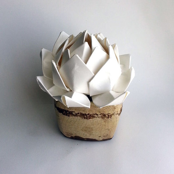 Set of 3 Paper Succulents/White Lotus Origami Flower, Handmade from Cotton Rag
