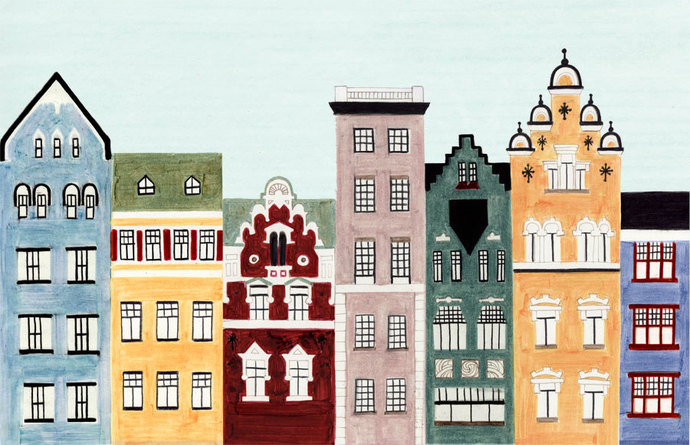 HELSINKI, FINLAND - Illustration Fine Art Print Of Colorful Buildings And Row