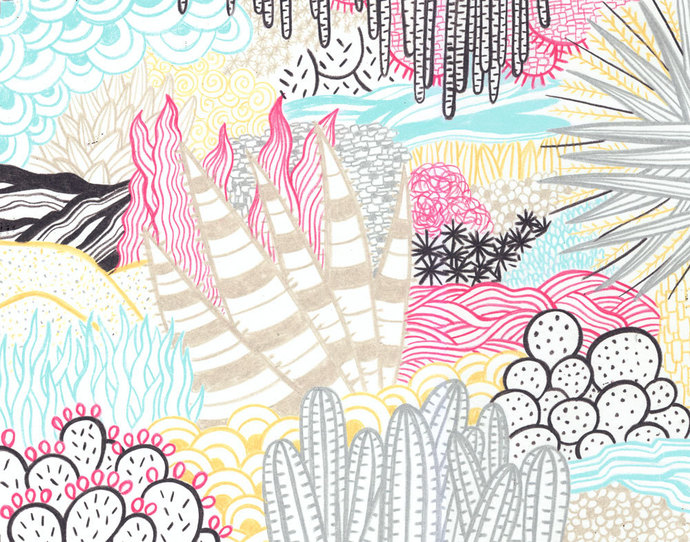 Desert Foliage Pattern Colorful Abstract Illustration Fine Art Print 11 x 14