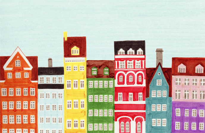 COPENHAGEN, DENMARK - Scandinavian Skyline Design Colorful Illustration Art