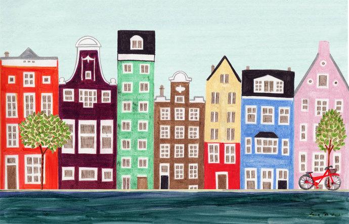 AMSTERDAM CANAL, NETHERLANDS - 5 x 7 Scandinavian Illustration Art Print, Canal,