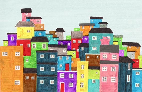 RIO DE JANEIRO, Brazil - 5 x 7 Colorful Illustration Art Print Of A Favela, Wall