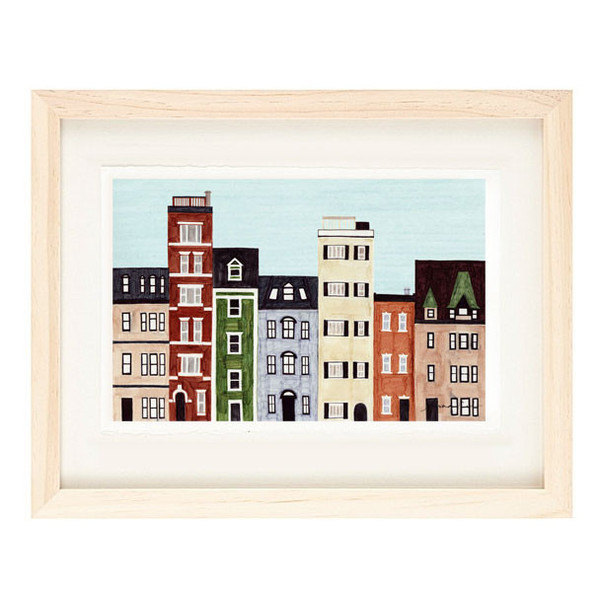 BOSTON, MASSACHUSETTS - 5 x 7 Colorful Illustration Art Print, New England,