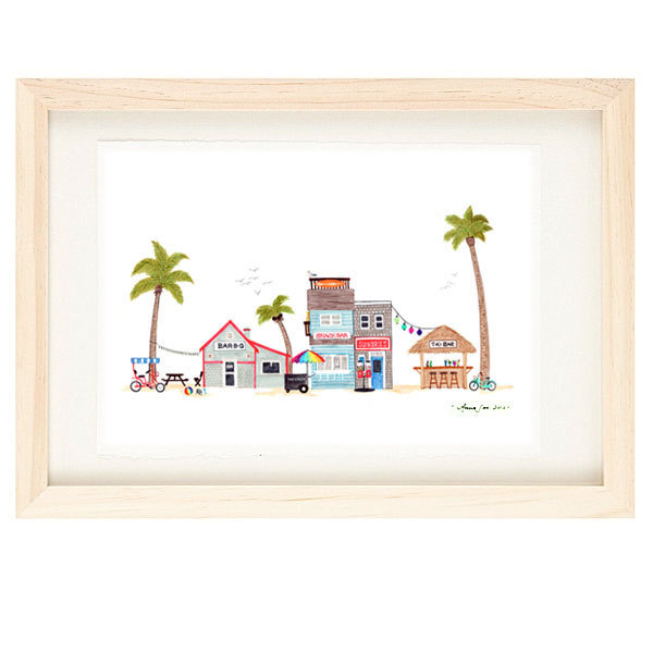 BEACH TOWN - Colorful Summer Time, Seaside Village, Illustration Giclee Print,