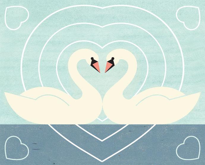 SWAN LOVE Charley Harper Inspired Illustration Art Print 8 x 10