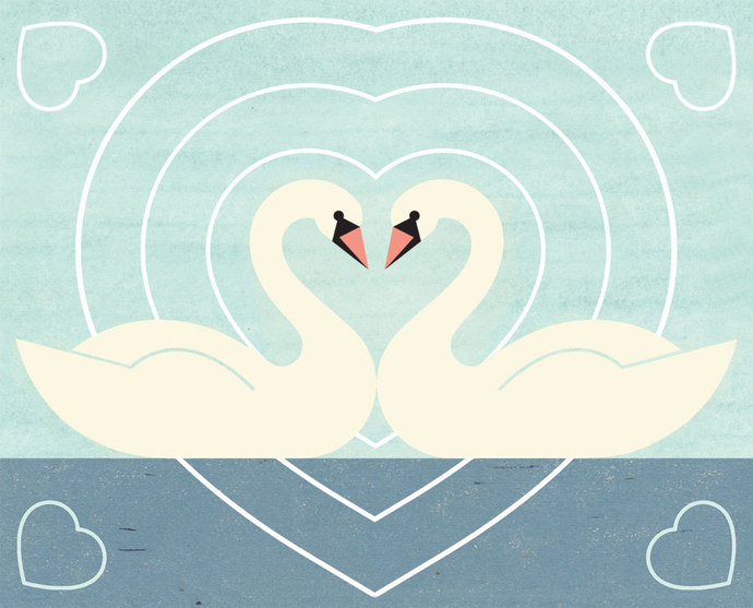 SWAN LOVE Charley Harper Inspired Illustration Art Print 5 x 7