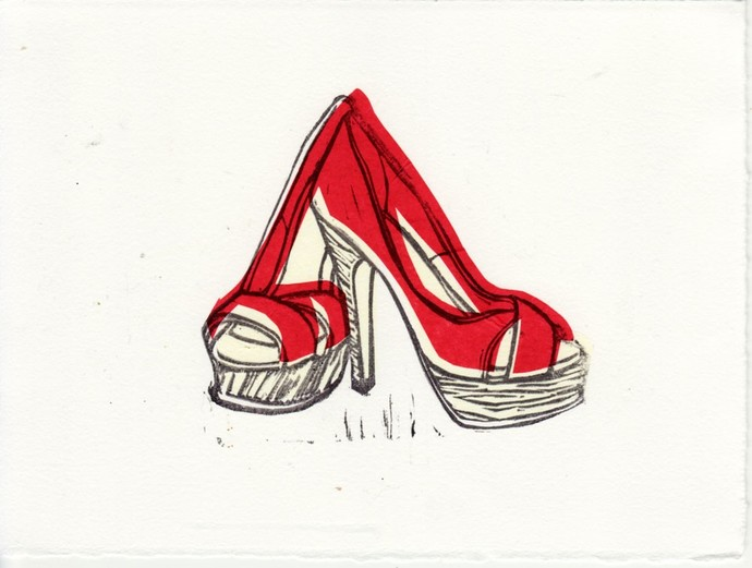 Christian Louboutin Platform Peep Toe Shoes Original Linocut Hand-Pulled Block