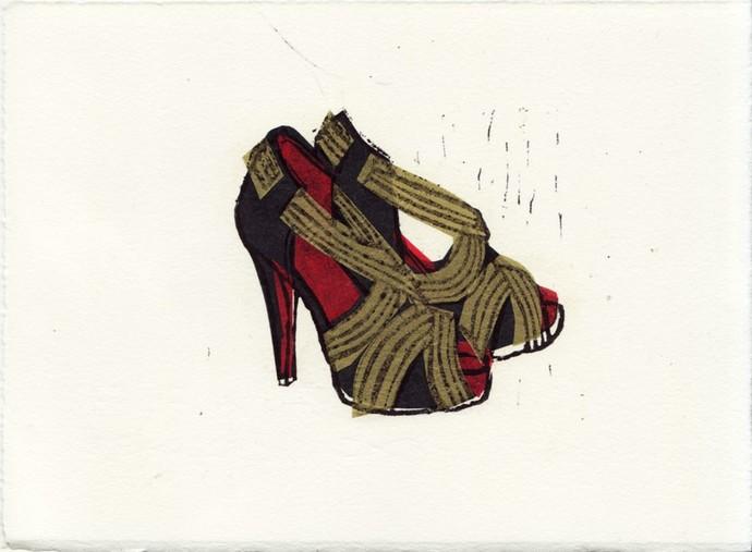 Christian Louboutin Josefa Shoes Linocut Hand-Pulled Art Print: 5 x 7