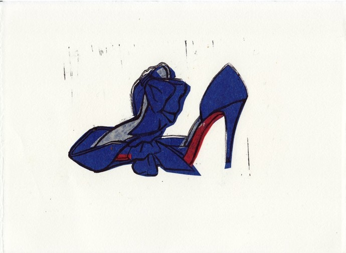 Christian Louboutin T Dorcet Shoes Original Linocut Art Print 5 x 7