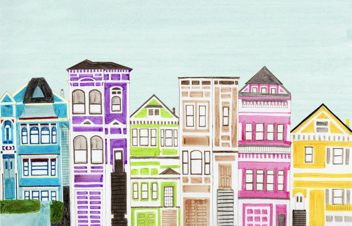 VICTORIAN HOUSES - Colorful Bright Large Illustration Artwork Print 11 x 17