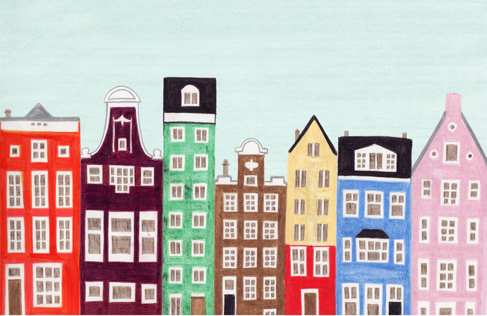 AMSTERDAM, NETHERLANDS -  11 x 17 Dutch Buildings and Houses Scandinavian Design