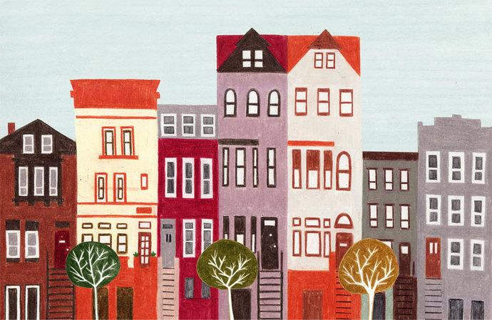 BROOKLYN, NEW YORK - Large Colorful Illustration Art Print 11 x 17