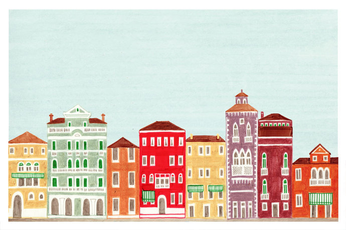 VENICE, ITALY - Colorful Illustration Art Print 11 x 17 Venetian Architecture