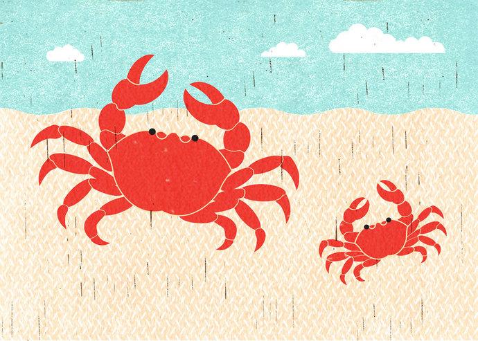 CRABS Summer Illustration Beach Print for Nautical, Beach, Coastal Theme Decor,