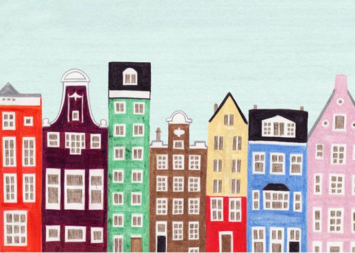 AMSTERDAM, NETHERLANDS - 5 x 7 Colorful Illustration Art Print, Scandinavian,