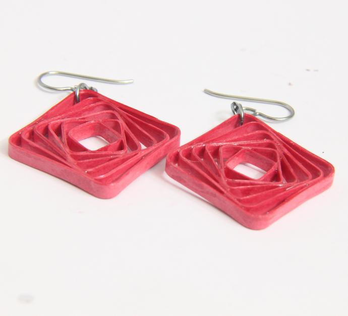 Square Spiral Swirl Geometric Rose Pink Niobium Earrings - Eco Friendly Artisan