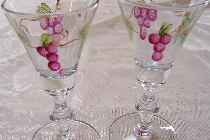 Grapes on Vintage Wine Glasses
