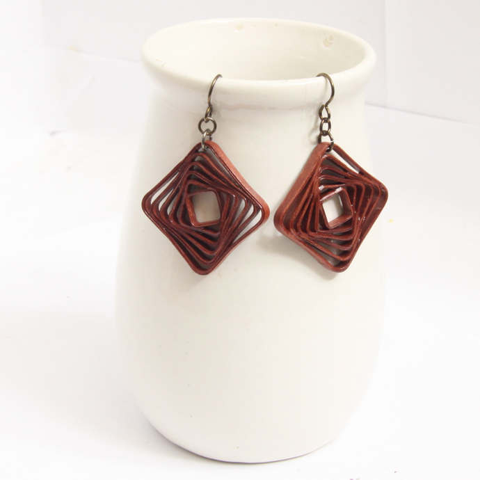 Square Spiral Swirl Geometric Rust Brown Niobium Earrings - Eco Friendly Artisan