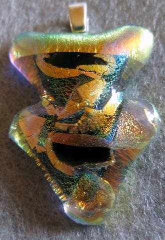 Fused glass triangular dichroic pendant
