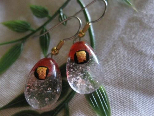earrings fused glass red/clear with dichro accents handmade