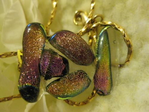 Fused glass dichroic shimmer and shine necklace Inukshuk