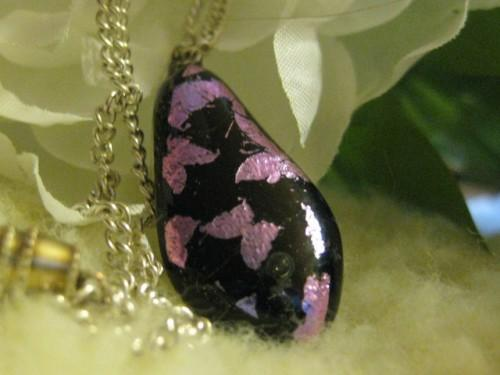 handmade fused glass pink  dichroic teardrop shaped  necklace
