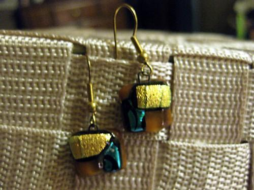Square earrings with gold/green/and brown in fused glass