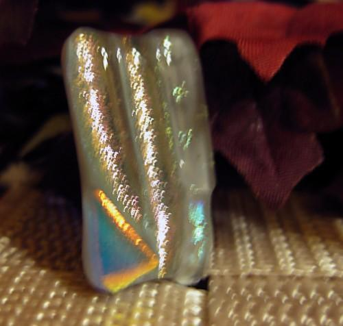 Dichroic pendant is shimmering silver shades of fused glass