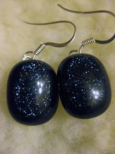 Earrings in navy blue sparkling Adventurine fused glass