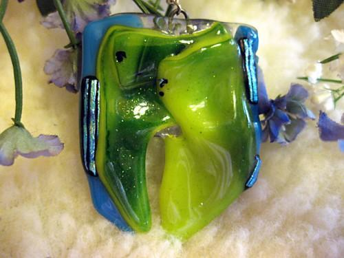 Necklace sculpted with glass shards  blue and green dichroic accents