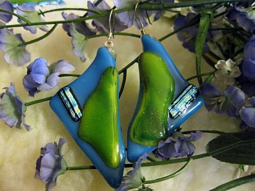 Earrings in fused glass shard sculpture of green and blue