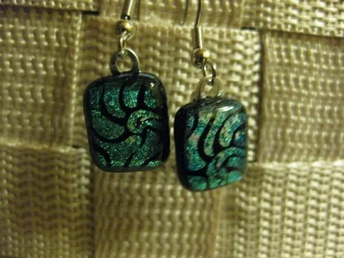 Dichroic earrings fused glass in nautilus pattern