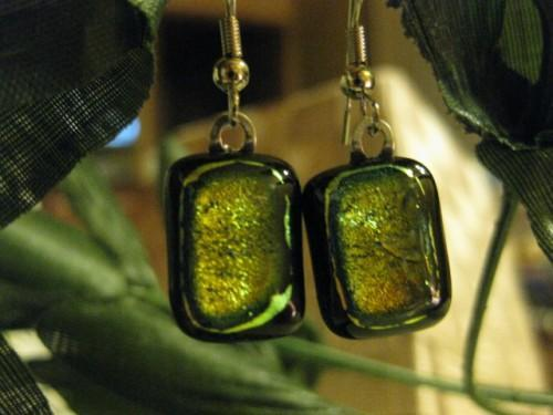 Earrings black base  fused with colored dichroic glass