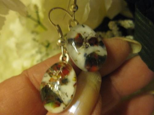 Earrings fused glass oval shape in rust brown black mottled effect