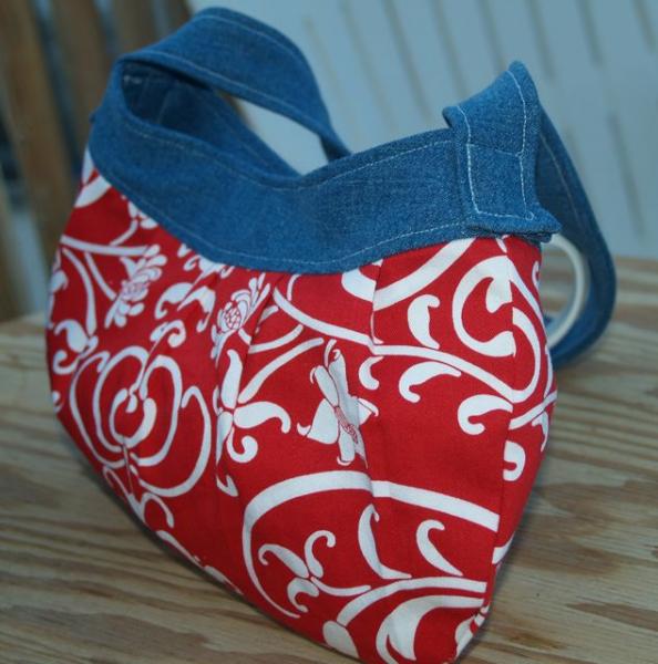 Handcrafted Denim and Florish Handbag Red / White