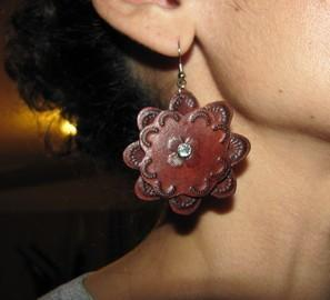 Small leather flower earrings