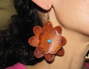 Large Leather flower earrings